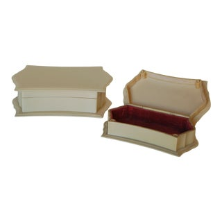 Art Deco French Ivory Vanity Jewelry Box Set Pyralin Du Barry For Sale