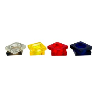In the Manner of Shlomi Haziza Vintage Colored Lucite Square Napkin Holders – a Set of 8 For Sale