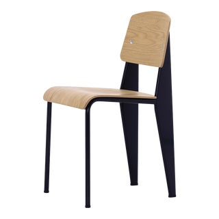 Jean Prouvé Standard Chair in Natural Oak and Black Metal for Vitra For Sale
