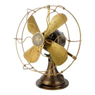 1920 Fort Wayne Electric Works Fwew Brass Desk Fan For Sale