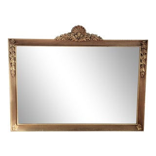 Antique Golden, Crested Wall Mirror For Sale