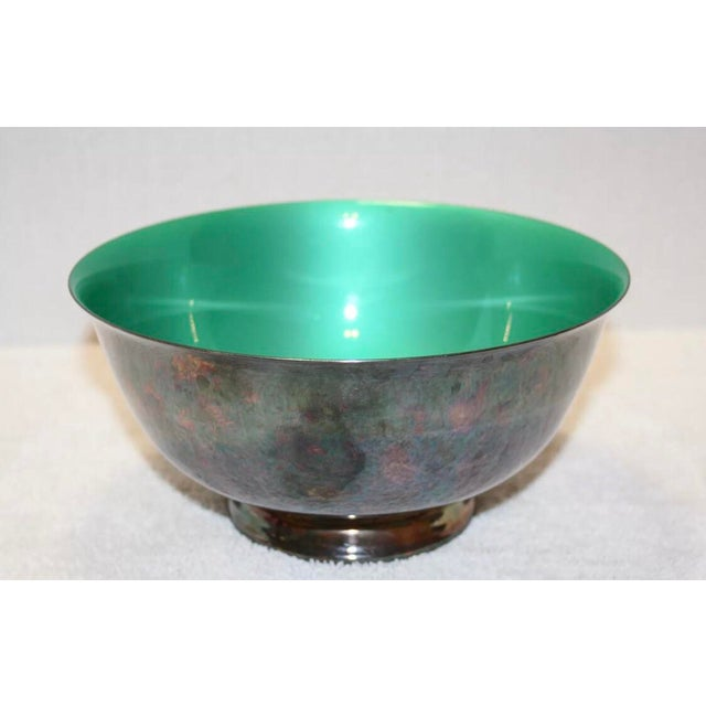 Reed & Barton Silver Plated & Bright Green Enamel Bowl For Sale - Image 10 of 10