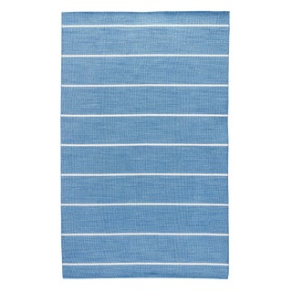 Jaipur Living Cape Cod Handmade Striped Blue/ Cream Runner Rug - 2′6″ × 8′ For Sale