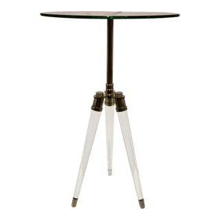 Modern Acrylic and Chrome Tripod Side Table For Sale