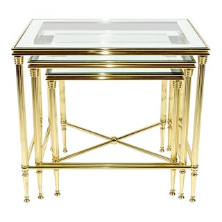 Mid-Century Solid Brass & Glass Top Nesting Table Set - 3 Pc. For Sale