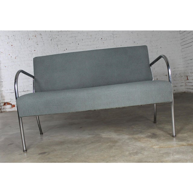 Chrome Art Deco Machine Age Streamline Moderne Royal Metal Co. Chrome and Upholstered Bench Sofa For Sale - Image 7 of 11