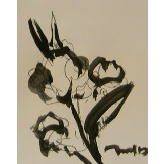 """Jose Trujillo Art Minimalist Acrylic on Paper Painting - Floral - 11x14"""" For Sale"""