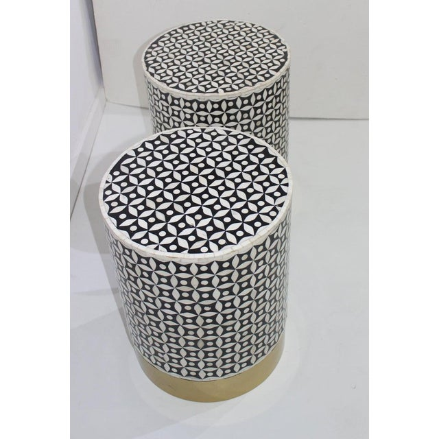 Vintage Drum Tables Tessellated Black and White Bone - a Set of 2 For Sale - Image 10 of 13