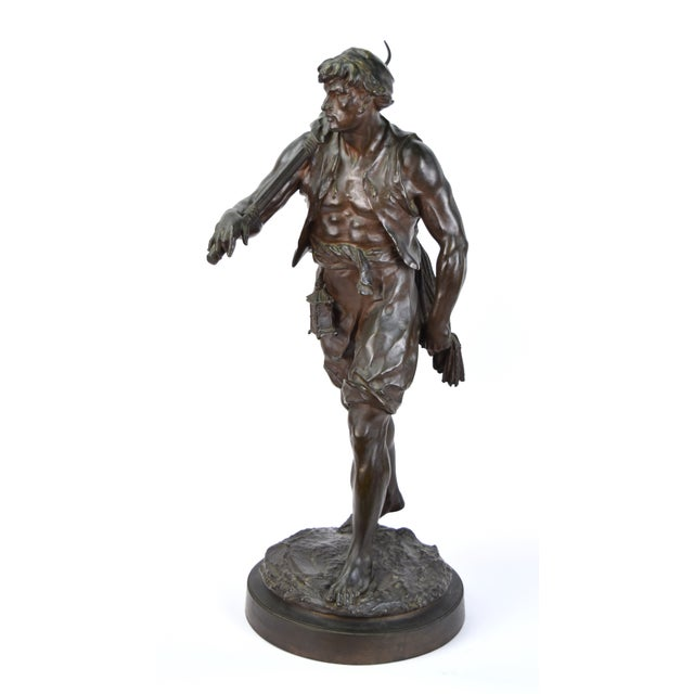 """Traditional """"The Whaler"""" Antique Emile Louis Picault French Bronze Sculpture For Sale - Image 3 of 9"""