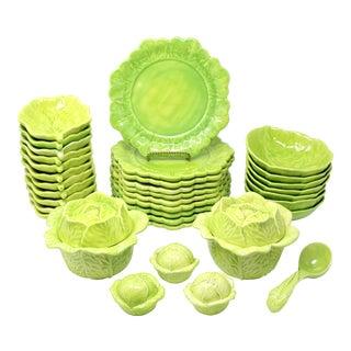 Vintage Handmade Cabbage Dinnerware - Set of 34 For Sale