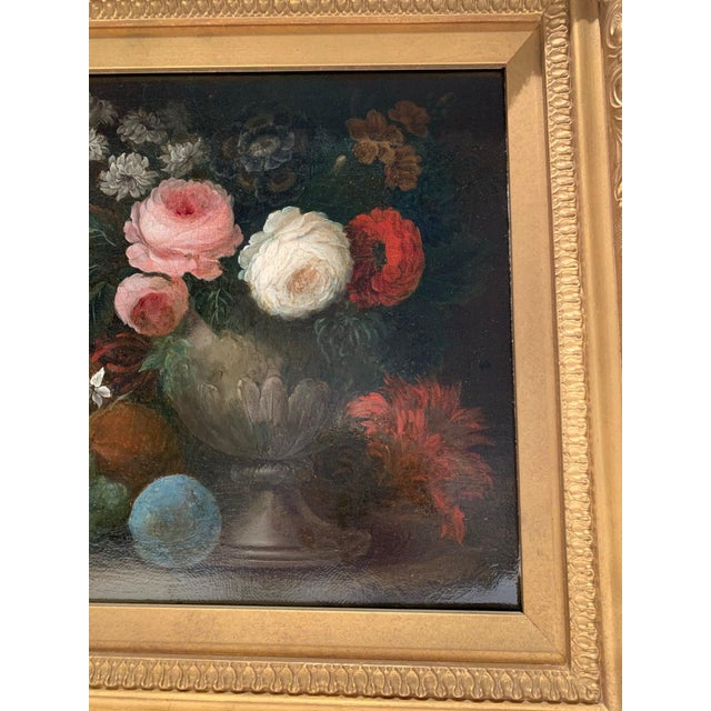 "Late 19th-century oil on canvas, ""Flowers & Grapes"", signed W, Beardoine. Re-lined and stretched."