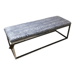 Contemporary Blue and White Wood Pattern Cushion on Steel Base Bench For Sale