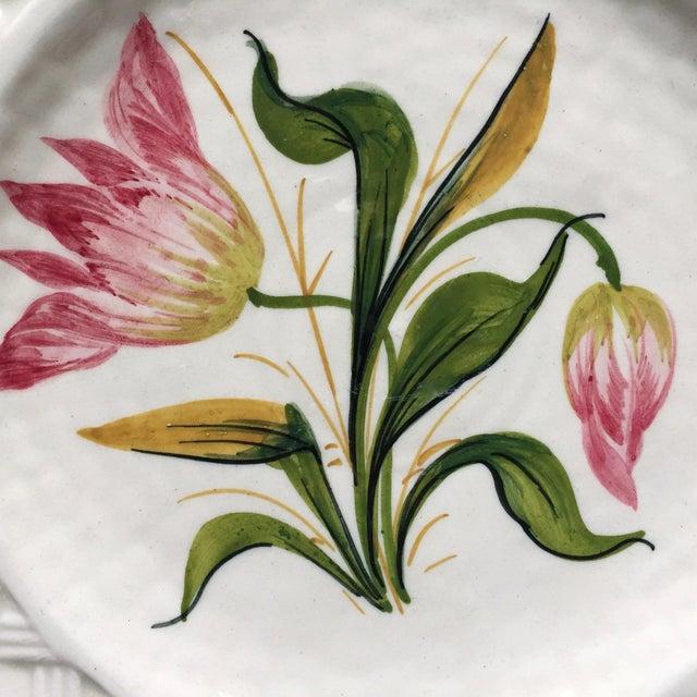 Ceramic Italian Faience Hand-Painted Tulip Plates-Set 8 For Sale - Image 7 of 13