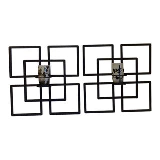 Asian Modern Metal Candlelight Wall Sconces - a Pair For Sale