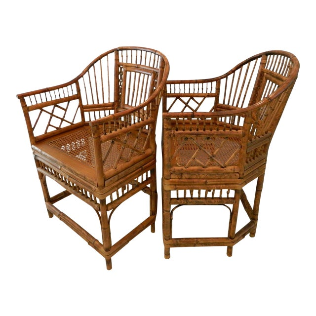 Vintage Brighton Pavilion-Style Bamboo Chairs - A Pair For Sale
