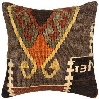 "Tobacco and Tangerine Vintage Kilim Pillow | 16"" For Sale"