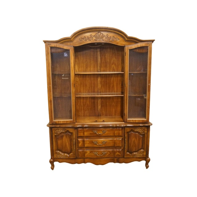 """Bernhardt 20th Century French Bernhardt Furniture 60"""" Buffet With Lighted China Cabinet For Sale - Image 4 of 12"""