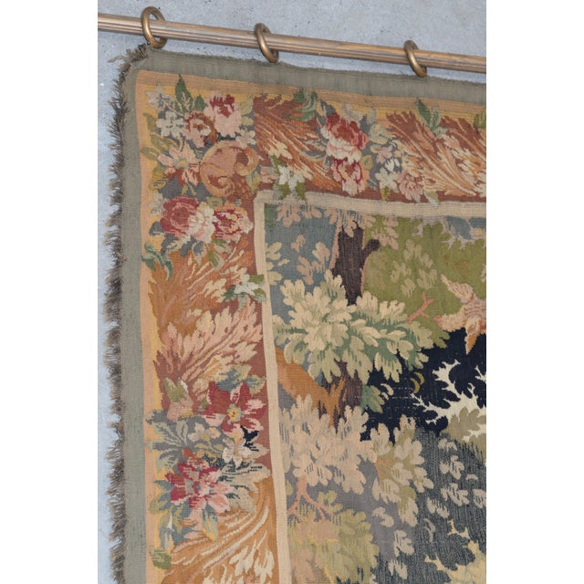 Late 19th Century Fine Antique European Tapestry Depicting a Country Scene With Dogs For Sale - Image 5 of 13