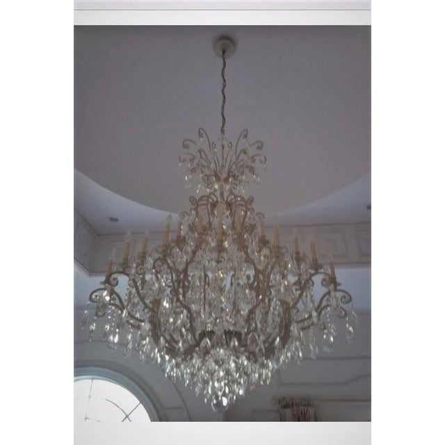 Renaissance Monumental German Schonbek Painted Brass and Crystal Chandelier For Sale - Image 3 of 11