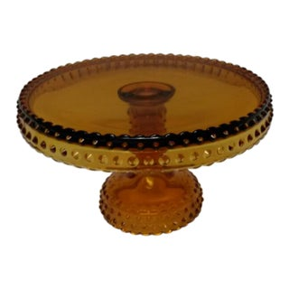 1960s Vintage Le Smith Amber Glass Hobnail Cake Stand For Sale