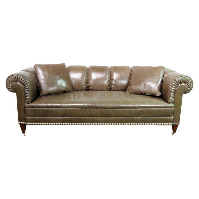 Early 21st Century Barbara Barry for Baker Chesterfield Leather Sofa For Sale - Image 5 of 5