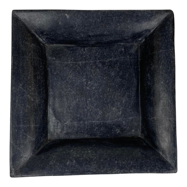 Square Hand Carved Marble Plate For Sale