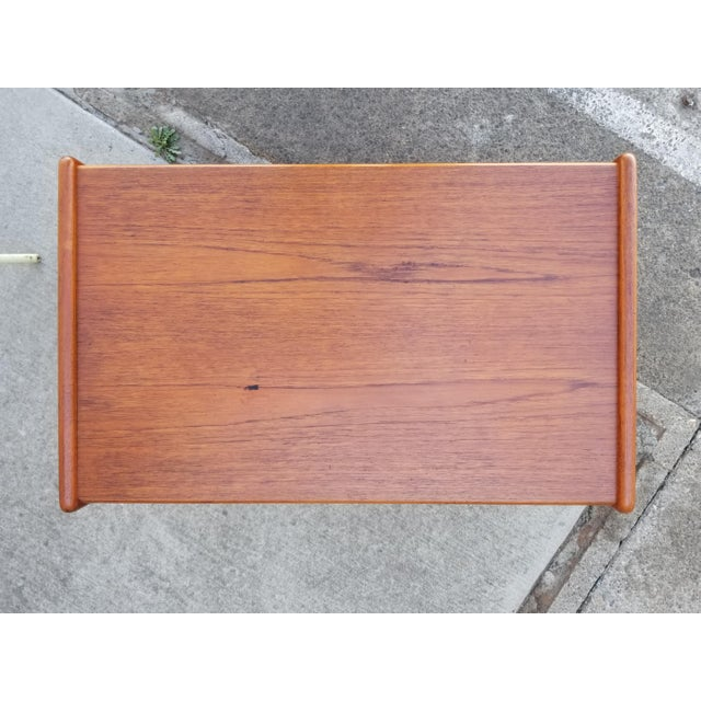 Wood Teak Danish Modern Side Table With Drawer For Sale - Image 7 of 11
