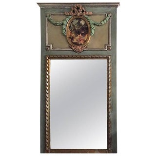 French XVI Style Painted & Polychromed Trumeau Mirror For Sale