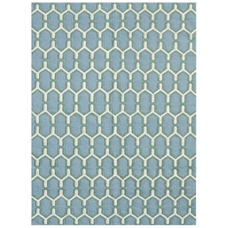 Zara Trellis Sky Blue Flat-Weave Rug 8'x10' For Sale