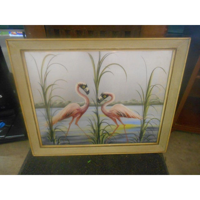 Vintage Retro Pink Flamingos Hand Painted Wall Art, 1950s For Sale - Image 4 of 7