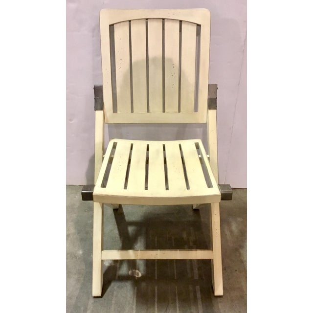 Transitional Transitional Cream Folding Style Set of Four Chairs For Sale - Image 3 of 6