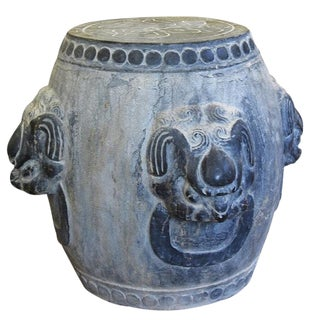 Asian Antique Lion's Head Garden Stone Stool For Sale