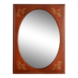 Vintage Hitchcock Stenciled Solid Maple Beveled Glass Wall Mirror For Sale
