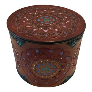 1980s Vintage Hand Tooled Leather Box For Sale