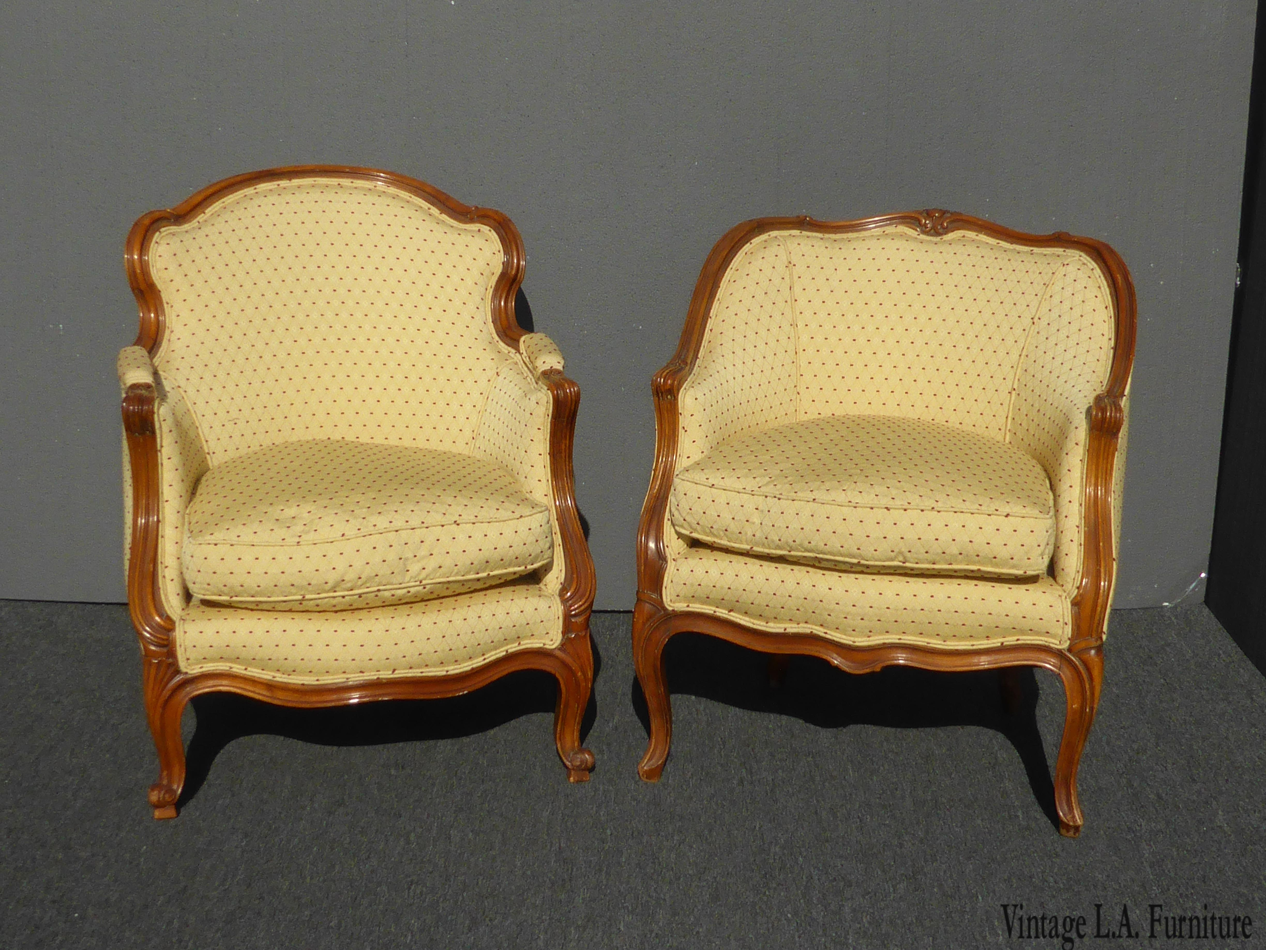Perfect Vintage French Provincial Gold U0026 Red Dot His U0026 Heru0027s Accent Chairs   A Pair