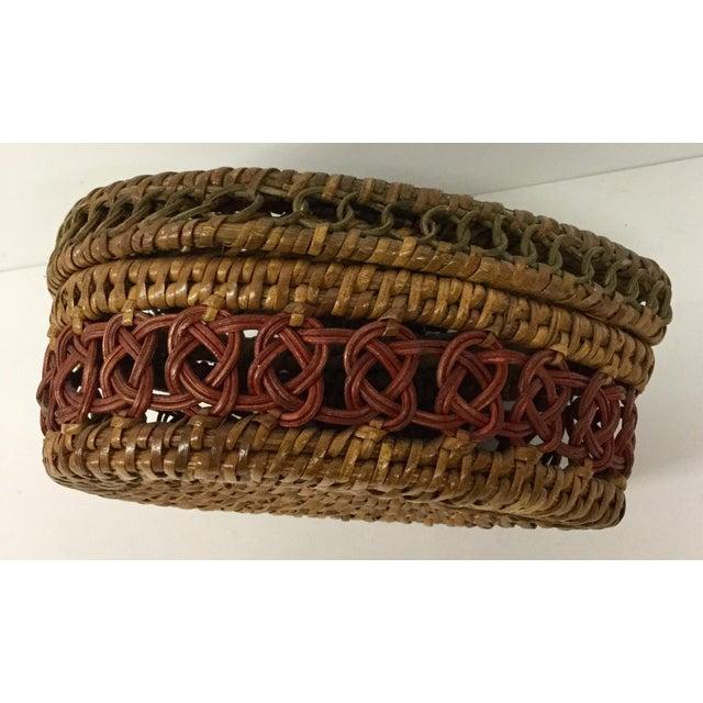 1930s Boho Chic Lidded Teardrop Shaped Basket For Sale - Image 4 of 13