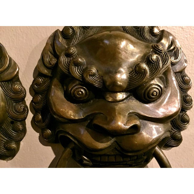 Pair Vintage Lion Brass Knockers Medium Size For Sale In Los Angeles - Image 6 of 13
