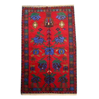 Vintage Traditional 'Baluch' Bright Red and Blue Floral Small Area Rug - 3′9″ × 6′7″ For Sale