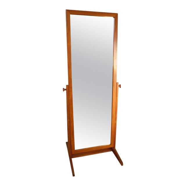 Vintage Danish Modern Teak Full Length Floor Mirror by Pedersen & Hansen For Sale