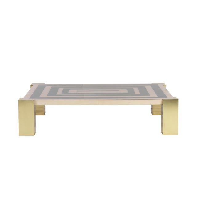 """Goatskin Inlay """"Mioni Coffee Table"""" With Brass Cube Legs by Sylvan s.f. For Sale"""
