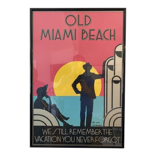 Old Miami Beach Serigraph by Woody Vondracek Signed and Numbered 194/200 For Sale