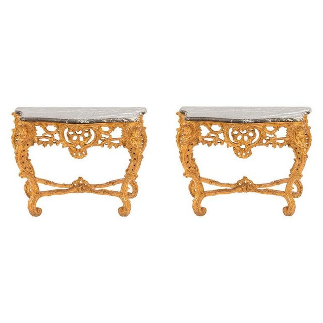 19th Century French Giltwood Consoles With Marble Tops - a Pair For Sale - Image 10 of 10