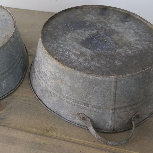 Boho Chic 20th Century Industrial Zinc Tub For Sale - Image 3 of 5
