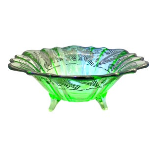 1920s Vintage Uranium Glass Centerpiece Bowl For Sale