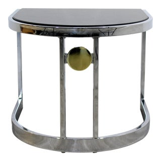 1970s Contemporary Modern Chrome & Granite Milo Baughman Side End Table For Sale