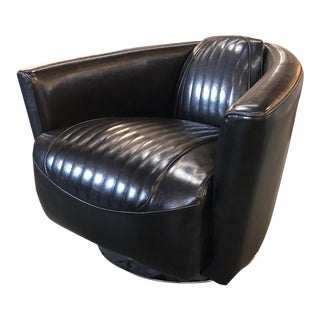 Early 21st Century Vintage Leather Swivel Aviator Chair For Sale