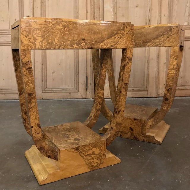 Pair Art Deco Burl Walnut End Tables For Sale - Image 10 of 12