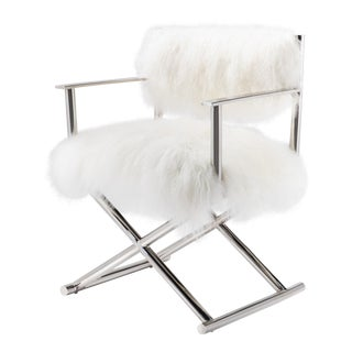 Modern Pasargad Home Mongolian Fur & Polished Metal Director's Chair For Sale