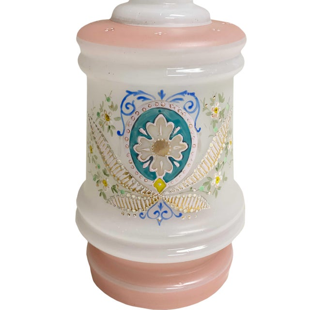 19th Century Antique French Pale Pink and White Opaline Decanter For Sale - Image 5 of 8