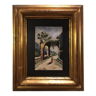 Vintage Italian Framed Uggolini Pietra Dura Plaque of an Italian Landscapemade From Marble and Other Stones